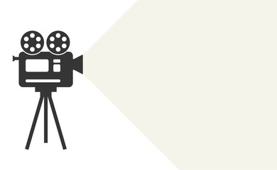 Cinema camera icon or logo isolated on white background. Movie time concept. Creative template for cinema poster. Simple flat style vector illustration.