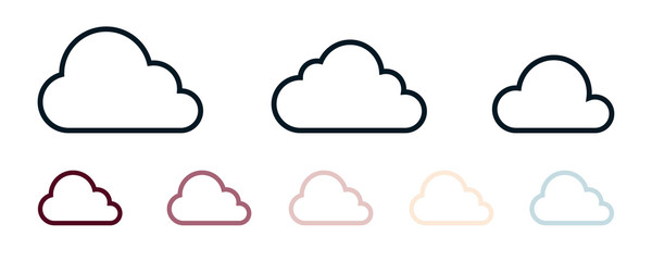 Clouds icon set isolated on a white background. Logo and sign. Cloud technologies. Different colors. Simple modern design. Flat style vector illustration.