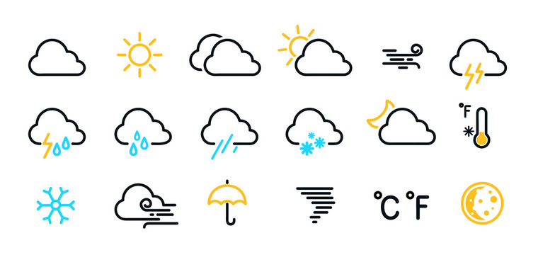 Weather icons set isolated on a white background. Clouds logo and sign collection. Black, blue and yellow colors. Simple modern design. Flat style vector illustration.