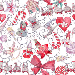 Seamless pattern with Christmas toys.