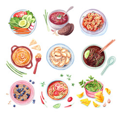 watercolor set of different dishes, isolated collection food illustration.