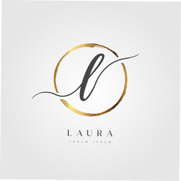 Elegant Initial Letter L Logo With Gold Circle Brushed