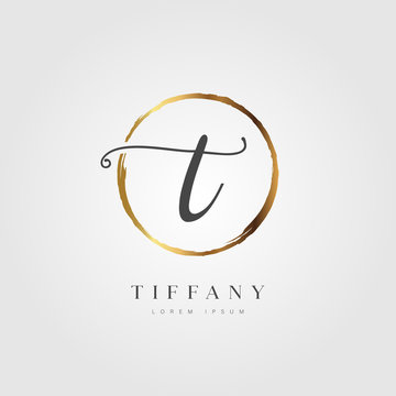 Elegant Initial Letter T Logo With Gold Circle Brushed