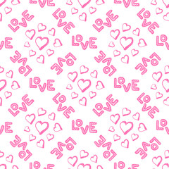 Love seamless pattern with hearts.