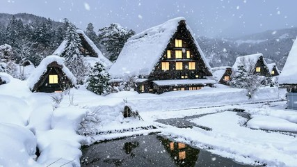 Wall Mural - Snowfall in Shirakawago village in winter, UNESCO world heritage sites, Japan.