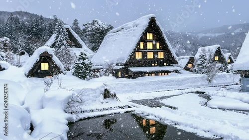 Wall mural Snowfall in Shirakawago village in winter, UNESCO world heritage sites, Japan.