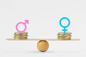 Male and female symbols on piles of coins on balance scale - Gender pay equality concept