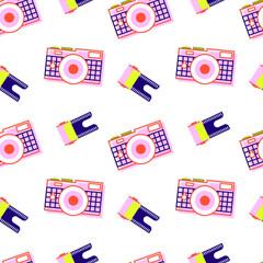Pattern of the camera with the film, with bright colors, zigzagly arranged to each other with turns