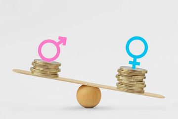 Male and female symbols on piles of coins on balance scale - Gender pay gap concept
