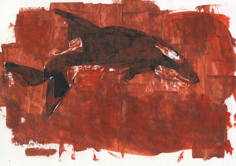 Killer whale. Abstract painting. Paper, acrylic paints and brushes.