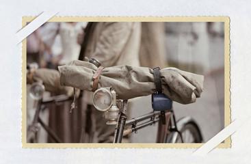 Altes Foto mit einem Fahrrad