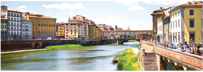 Drawing a bridge Ponte Vecchio  over the Arno river in Florence. Panorama.