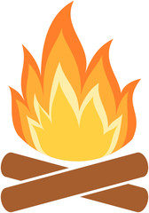 Camp fire icon. Flame