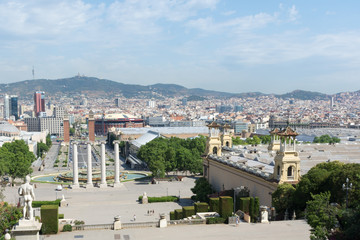 View of Barcelona from the observation deck on Montjuic mountain