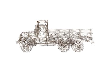 car model body structure, wire model 3d rendering truck