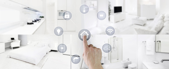 Fototapeta smart home control concept hand touch icons screen with interiors, living room, kitchen, bedroom and bathroom on blurred background, web banner and copy space template obraz