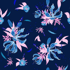 Trendy  Floral pattern in the many kind of flowers. Tropical botanical  Motifs scattered random. Seamless vector texture.  for fashion fabric and  all prints  with in hand drawn style