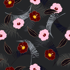Dark Summer night  mood seamless vector floral pattern,Grey background with tropical flowers, palm leaves, jungle leaf, hibiscus