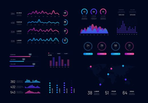 Modern intelligent infographic diagram vector interface. Technology hud and network management data screen with charts, diagrams, statistics graphs and finance charts