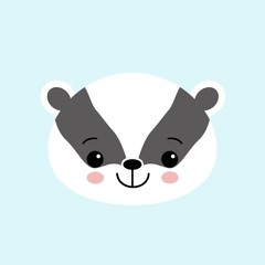 Badger cute black and white cartoon animal, ector icon