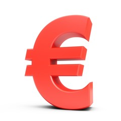 3D Rendering Red Euro Sign isolated on white background