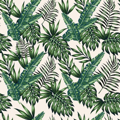 Exotic leaves beige background seamless