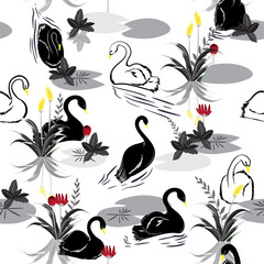 Balck and white Seamless pattern of swans in the lake with red and yellow flower. Vector illustration.For fashion fabric and all prints
