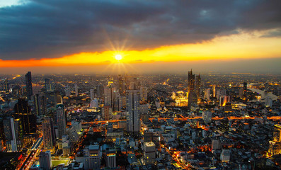Cityscape Bangkok city building Thailand sunset twilight Asian Thailand