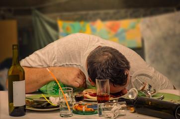 Drunkest guy sleeps on the table