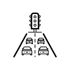 Black line icon for traffic