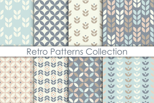Set of Scandinavian style floral seamless pattern. Retro geometric textures collection. Vector wallpaper.