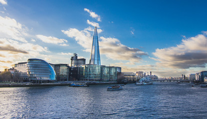 View of Thames River from London Tower Bridge - Stock image