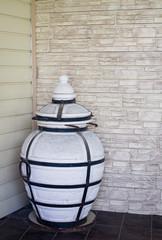 Ceramic tandoor. A tandoor - an east ceramic furnace for cooking outdoors.