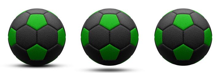 black and green soccer ball in three versions, with and without shadow. Isolated on white. 3d render.