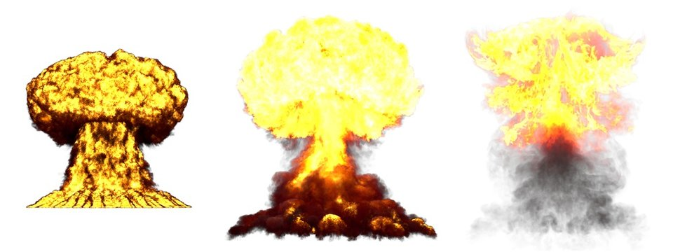 3D illustration of explosion - 3 big high detailed different phases mushroom cloud explosion of nuke bomb with smoke and fire isolated on white