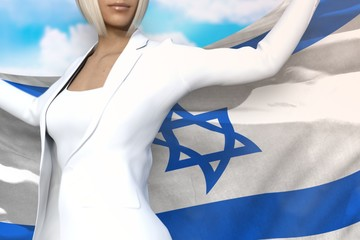 beautiful business lady holds Israel flag in hands behind her back on the blue sky background - flag concept 3d illustration