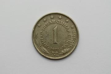 Vorderseite der ehemaligen 1 Dinar-Münze aus dem ehemaligen Jugoslawien