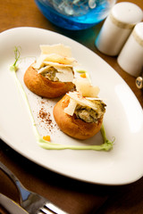 profiters with mushrooms and parmesan