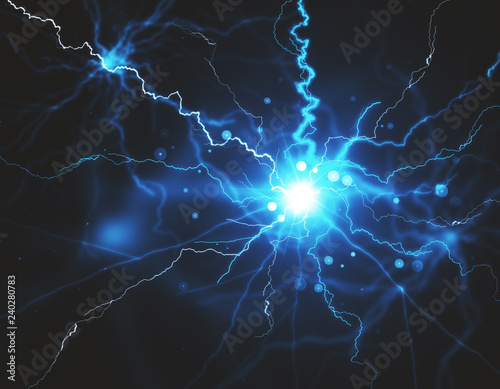 Abstract Blue Lightning Backdrop Stock Photo And Royalty