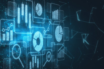 Digital business hologram backdrop