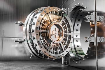 Vault bank door. 3d concept