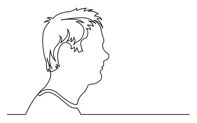 continuous line drawing of isolated on white background profile portrait of disturbed man