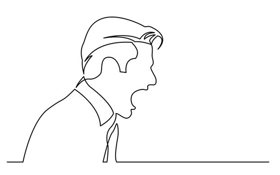 continuous line drawing of isolated on white background profile portrait of angry man screaming