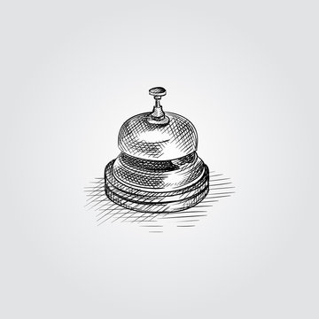 Hand Drawn Service bell Sketch Symbol isolated on white background. Vector of Hotel service symbol In Trendy Style. Engraving style pen pencil crosshatch.