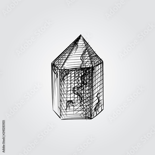 Hand Drawn Crystal Sketch Symbol isolated on white