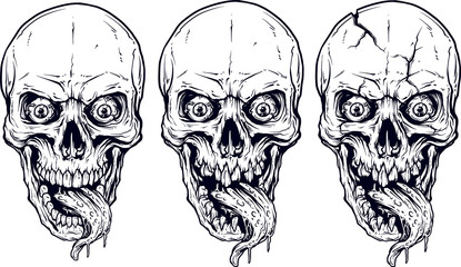 Detailed graphic realistic cool white human skulls with horrible long tongue, crazy eyes and lower jaws. On white background. Vector icon set.