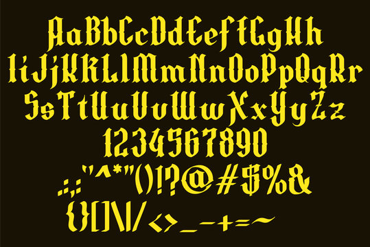 Handrawn yellow font. Gothic vintage style. Vector alphabet, numbers and symbols. Isolated on black background. Vol. 1