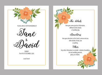 Wedding invitations set with flowers vector illustration. Design of cards, invitations, greetings for wedding.