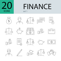 Finance line icons, 20 different icons. Concept of finance, money and banks. Vector illustration.