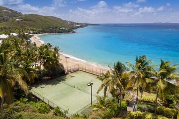 Caribbean coast with tennis court